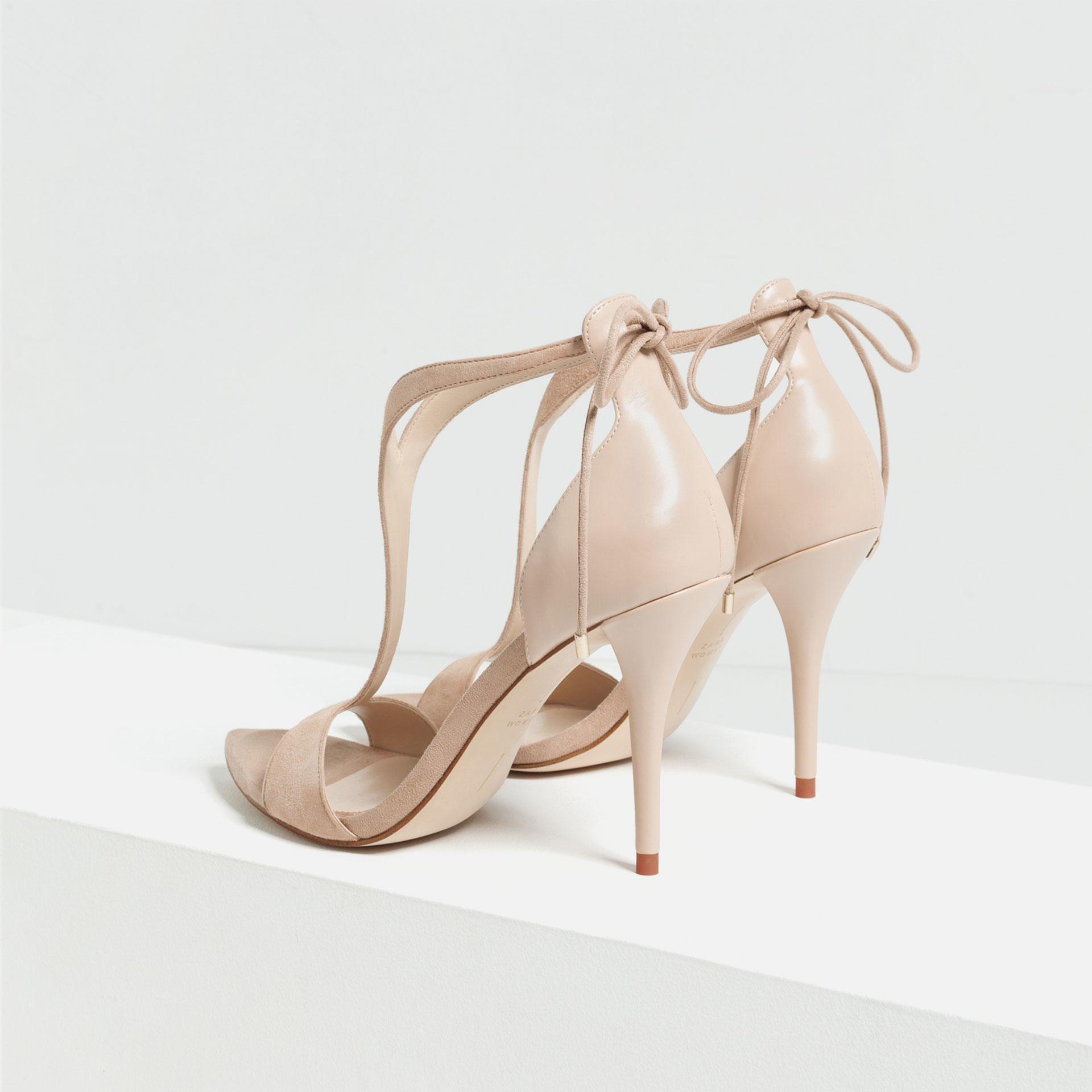 Zara High Heel Strappy Sandals in Natural | Lyst