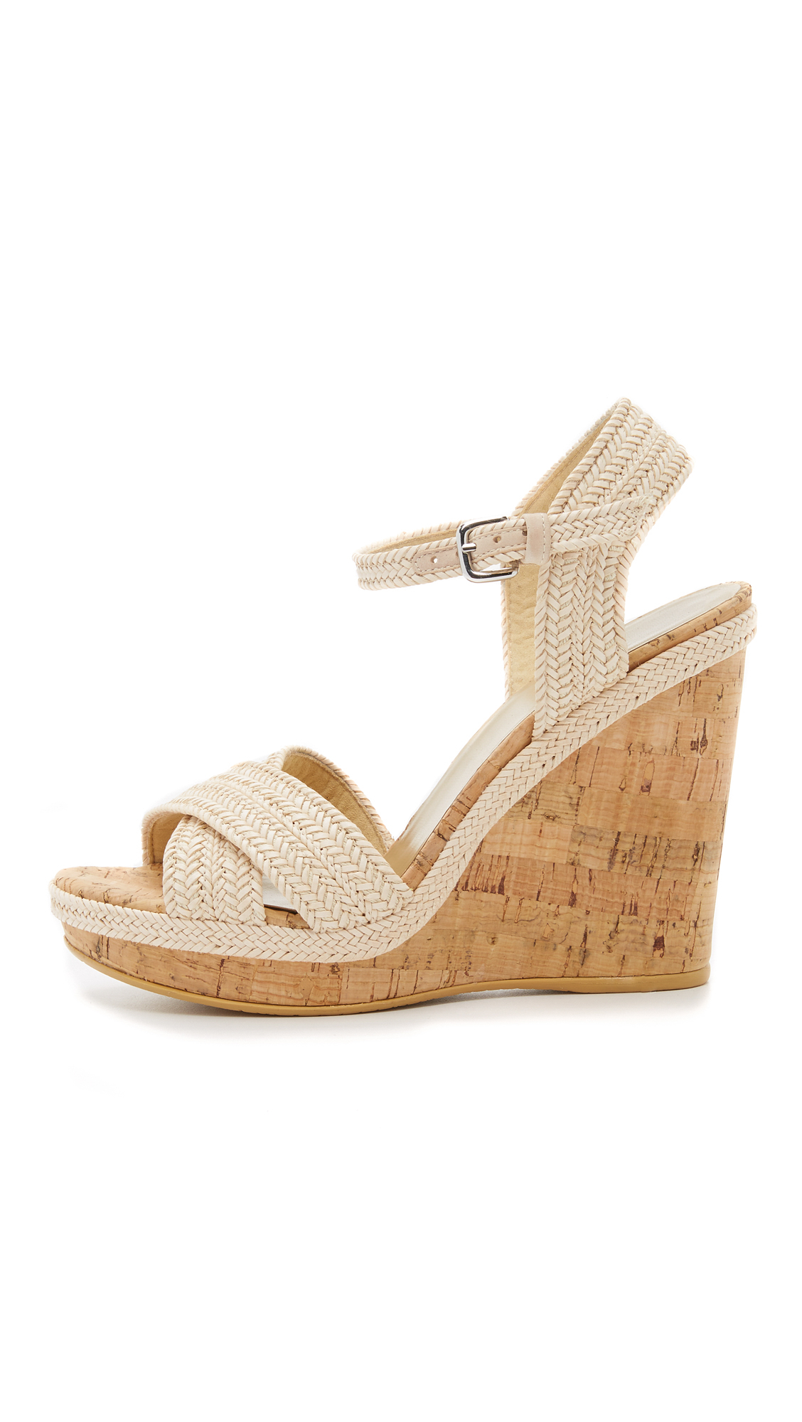 Lyst Stuart Weitzman Minx Wedge Sandals In White