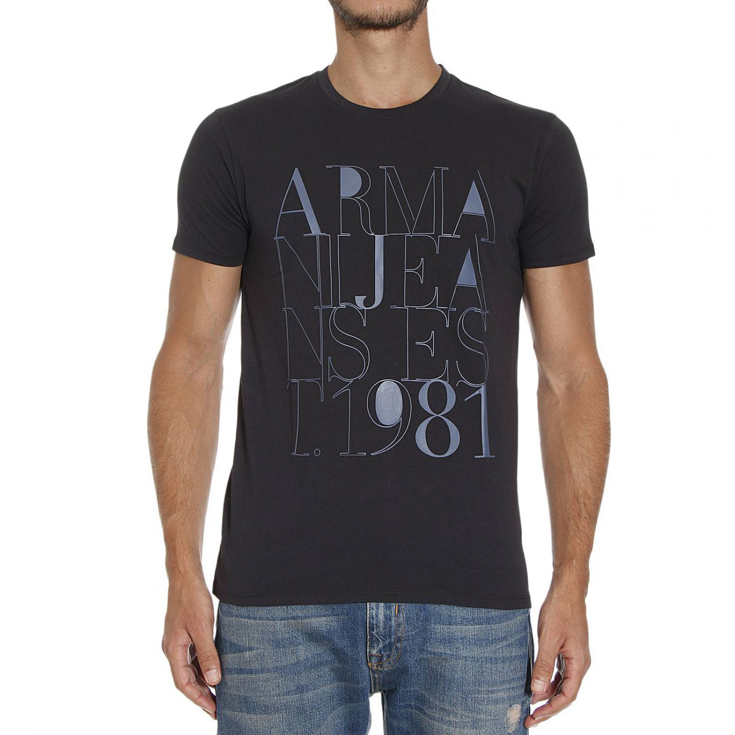 armani jeans t shirt in blue for men lyst. Black Bedroom Furniture Sets. Home Design Ideas