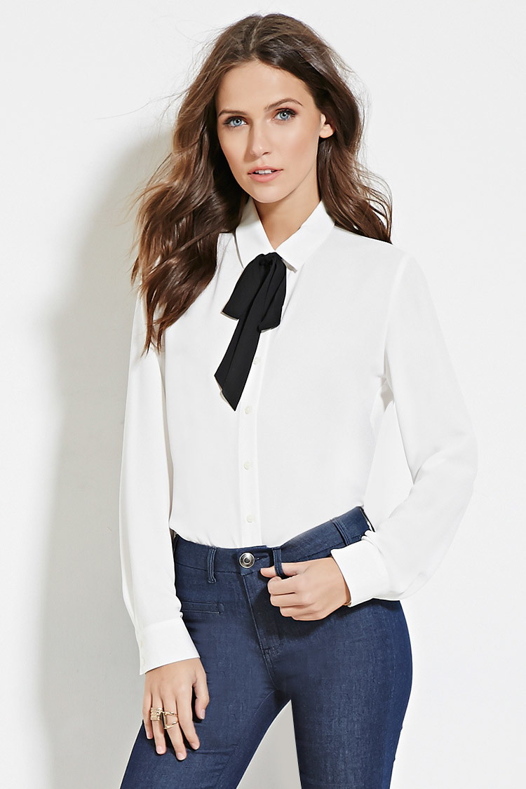 Lyst Forever 21 Bow Collar Shirt In White