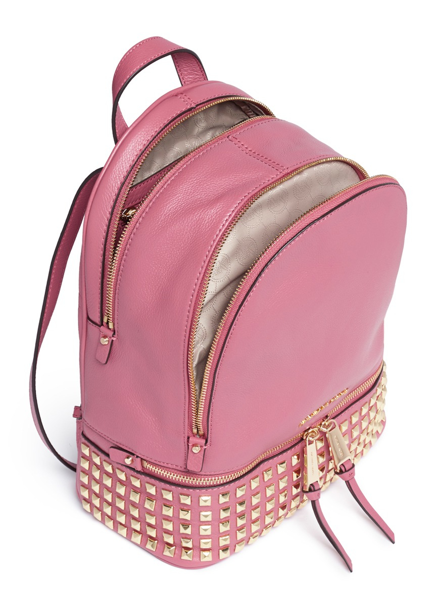 Michael kors 'rhea' Small Stud Leather Backpack in Pink | Lyst