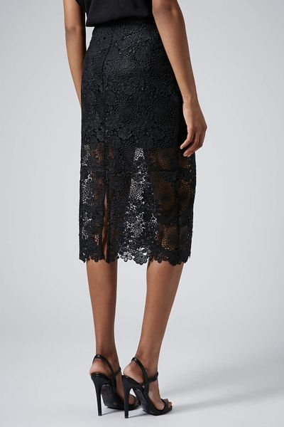 topshop lace pencil skirt in black lyst
