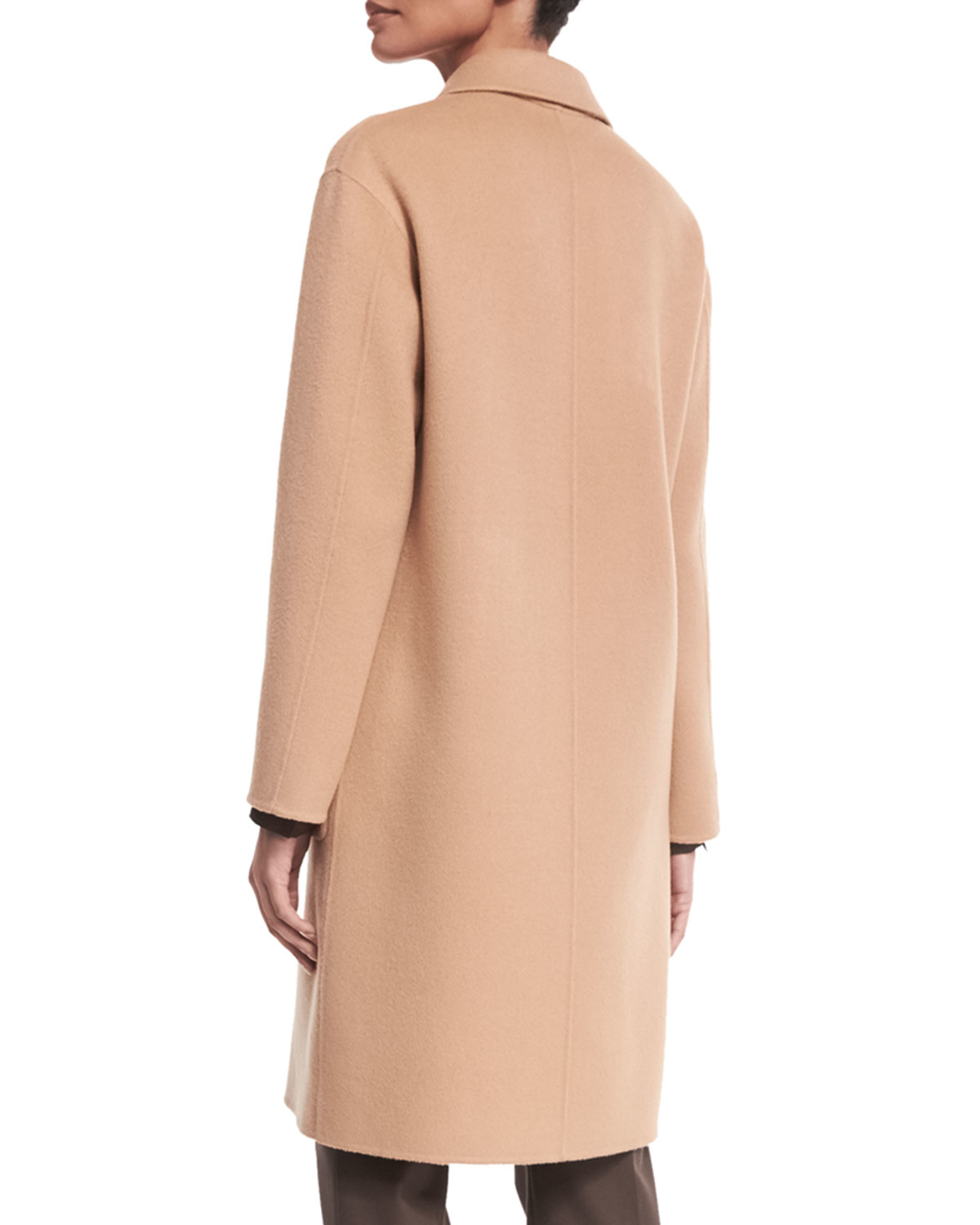 Theory Cerlita Double-face Wool/cashmere Coat in Natural | Lyst