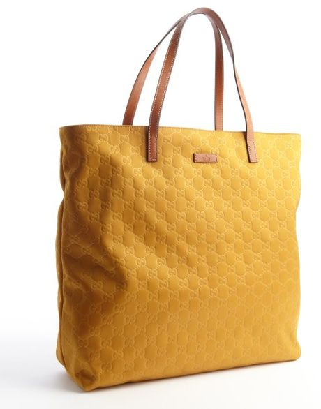 Gucci Mustard Ssima Shopping Tote with Leather Top Handles ...