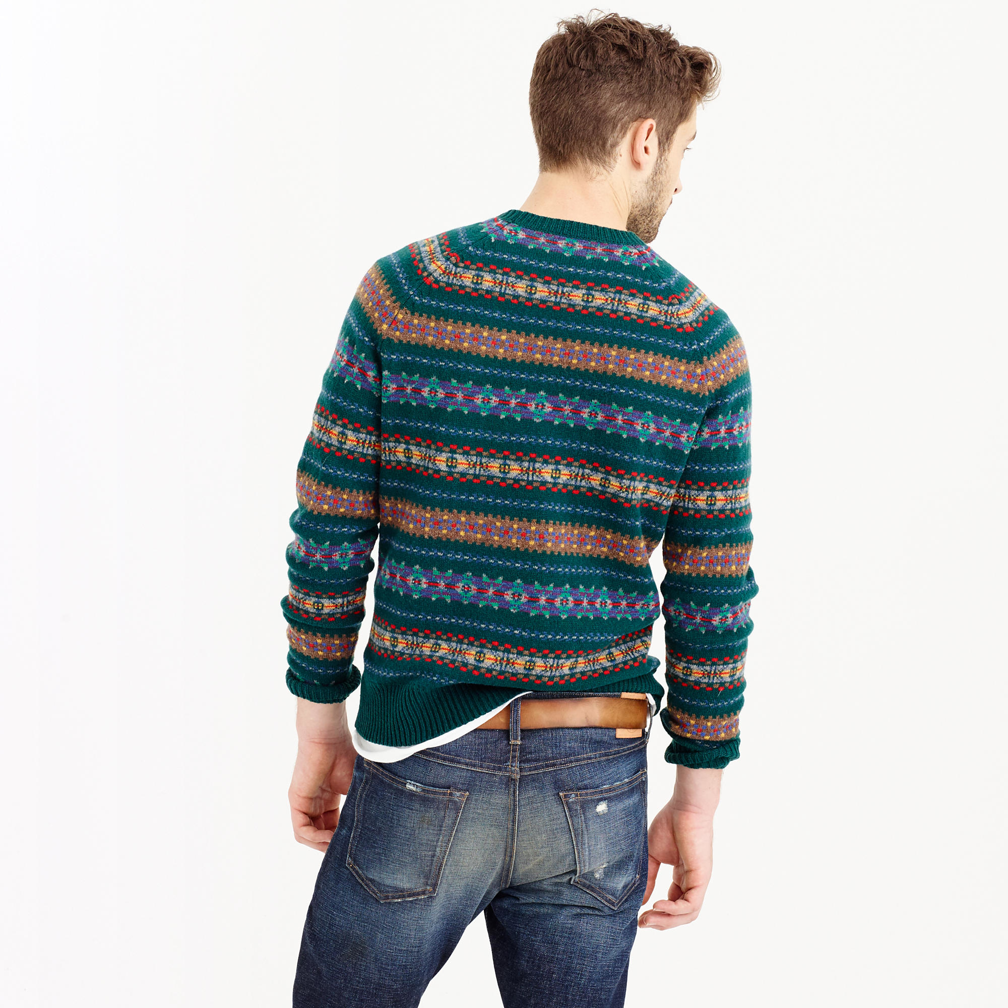 Lyst J Crew Lambswool Fair Isle Sweater In Forest For Men