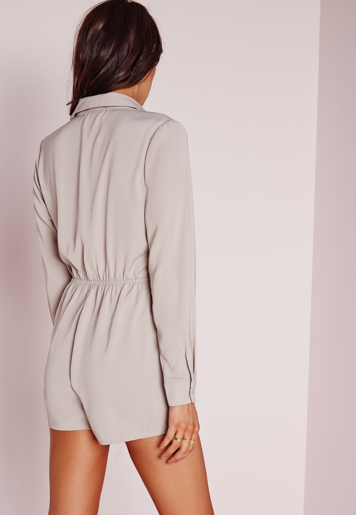 da40f91d480b Lyst - Missguided Wrap Front Shirt Playsuit Nude in Natural