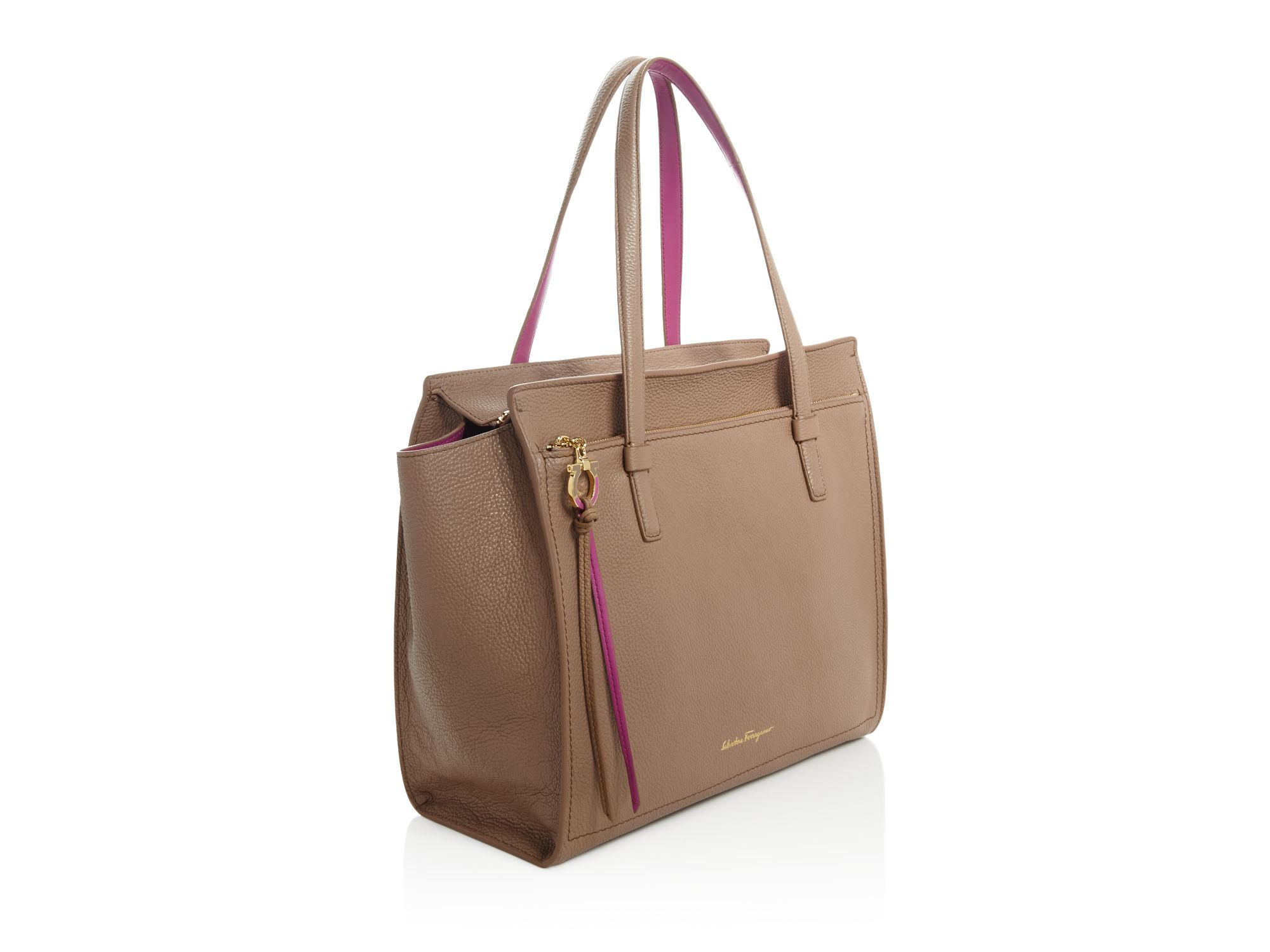 6d41c6084d56 Lyst - Ferragamo Large Amy Bicolor Tote in Brown