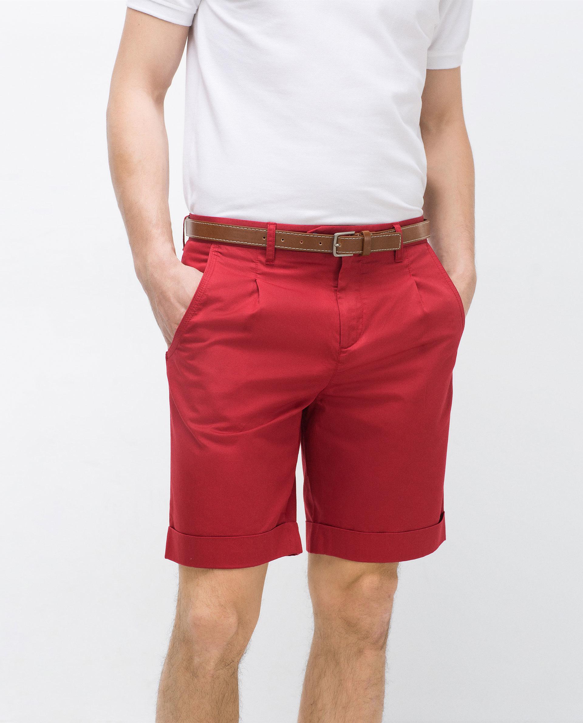 Zara Bermuda Shorts With Belt in Red for Men | Lyst