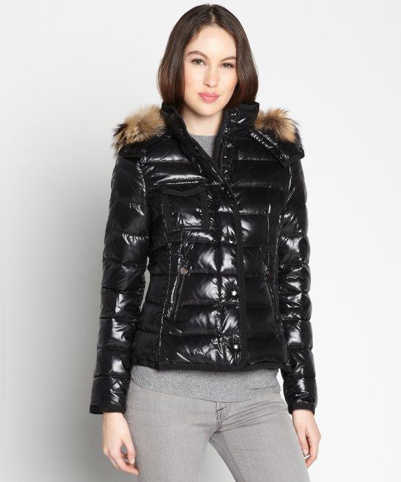 Lyst Moncler Black Shiny Nylon Armoise Fur Trim Puffer