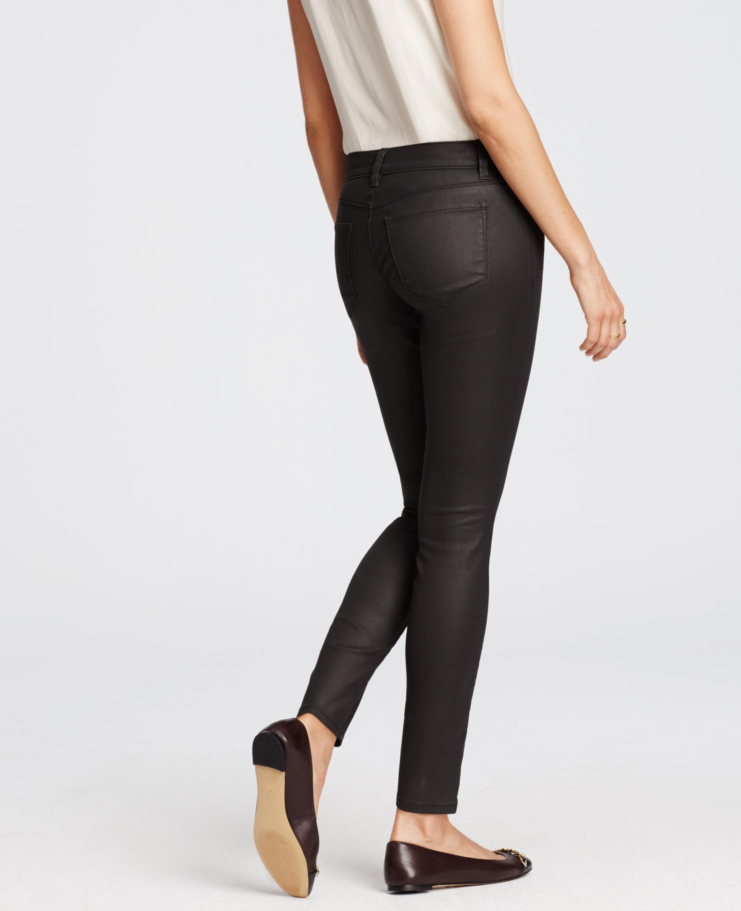 9ea9dddf86 Ann Taylor Modern Coated Super Skinny Jeans in Gray - Lyst