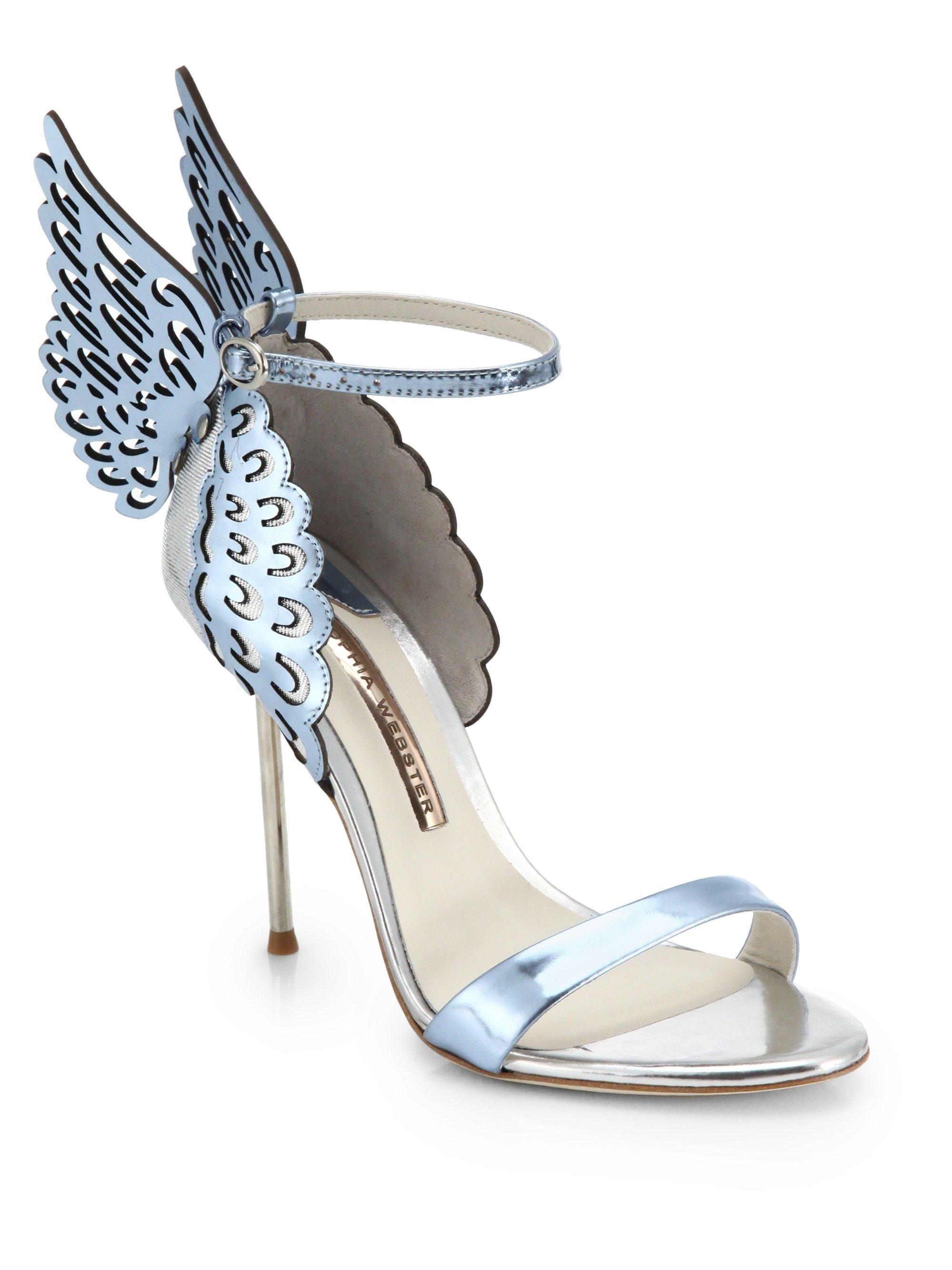 d7d7f4bca93259 Lyst - Sophia Webster Evangeline Winged Leather Sandals in Metallic