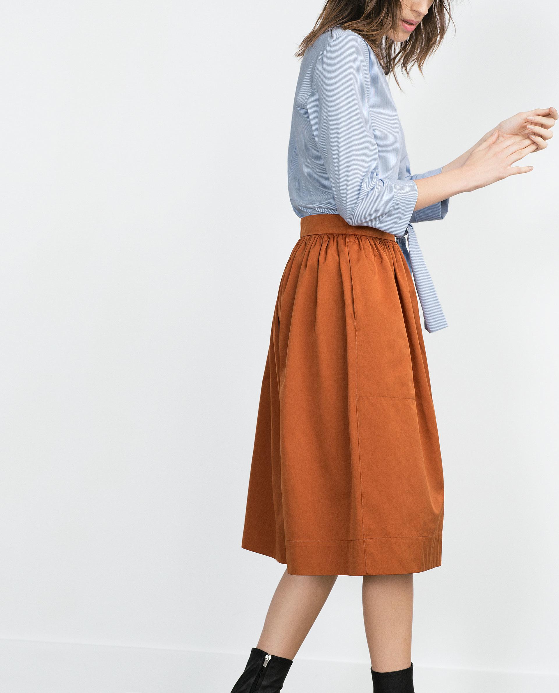 zara midi skirt in orange lyst