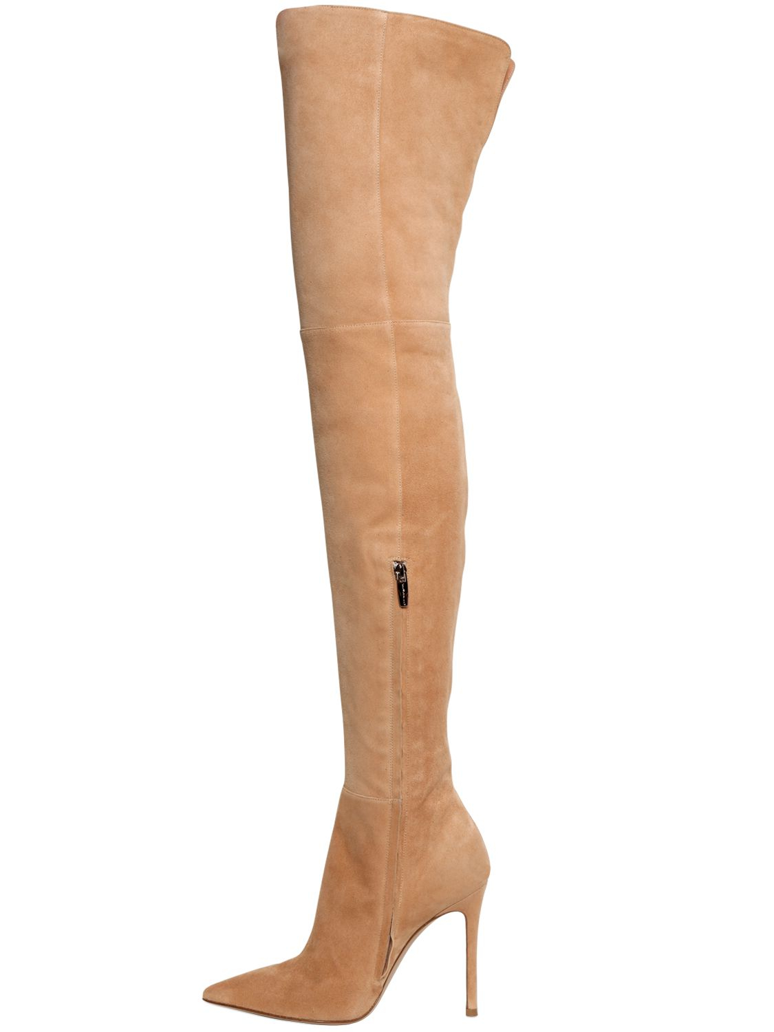 Gianvito rossi 100mm Suede Over The Knee Boots in Natural | Lyst