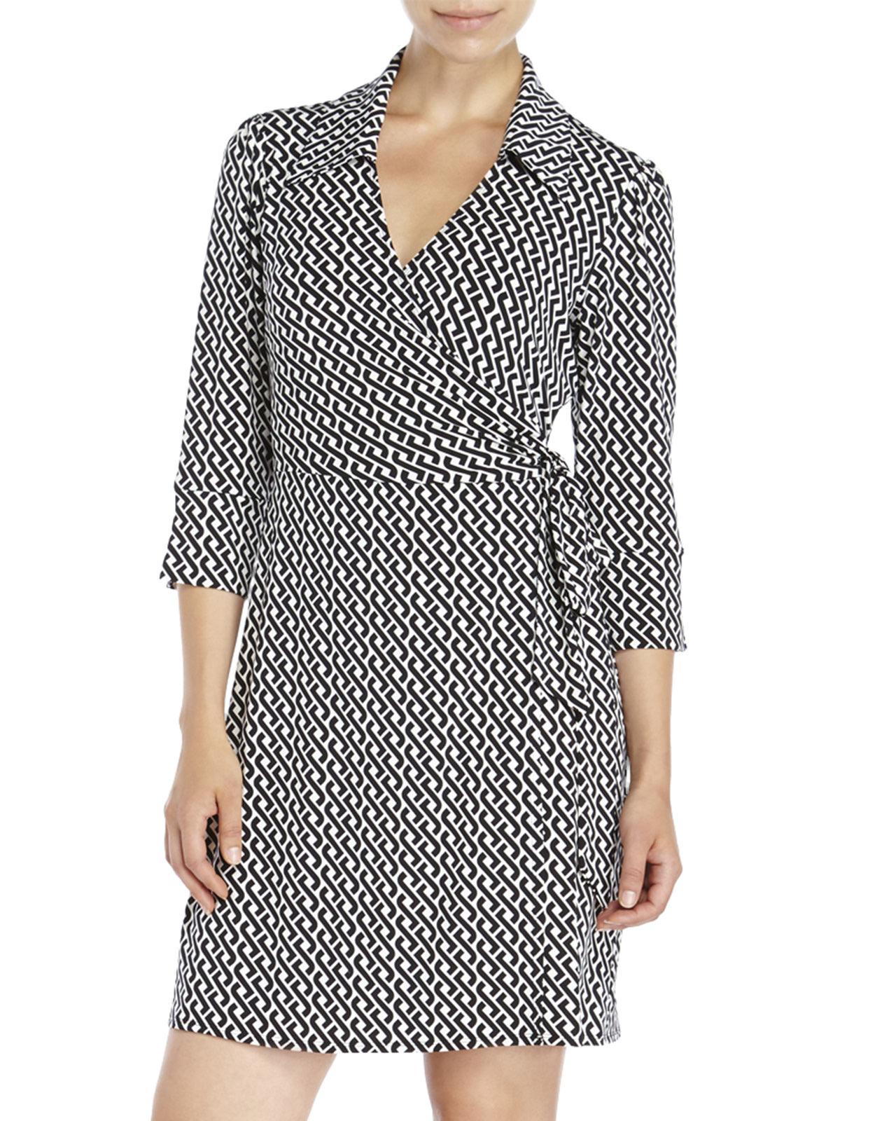 Laundry by shelli segal Link Print Jersey Wrap Dress in Black Lyst