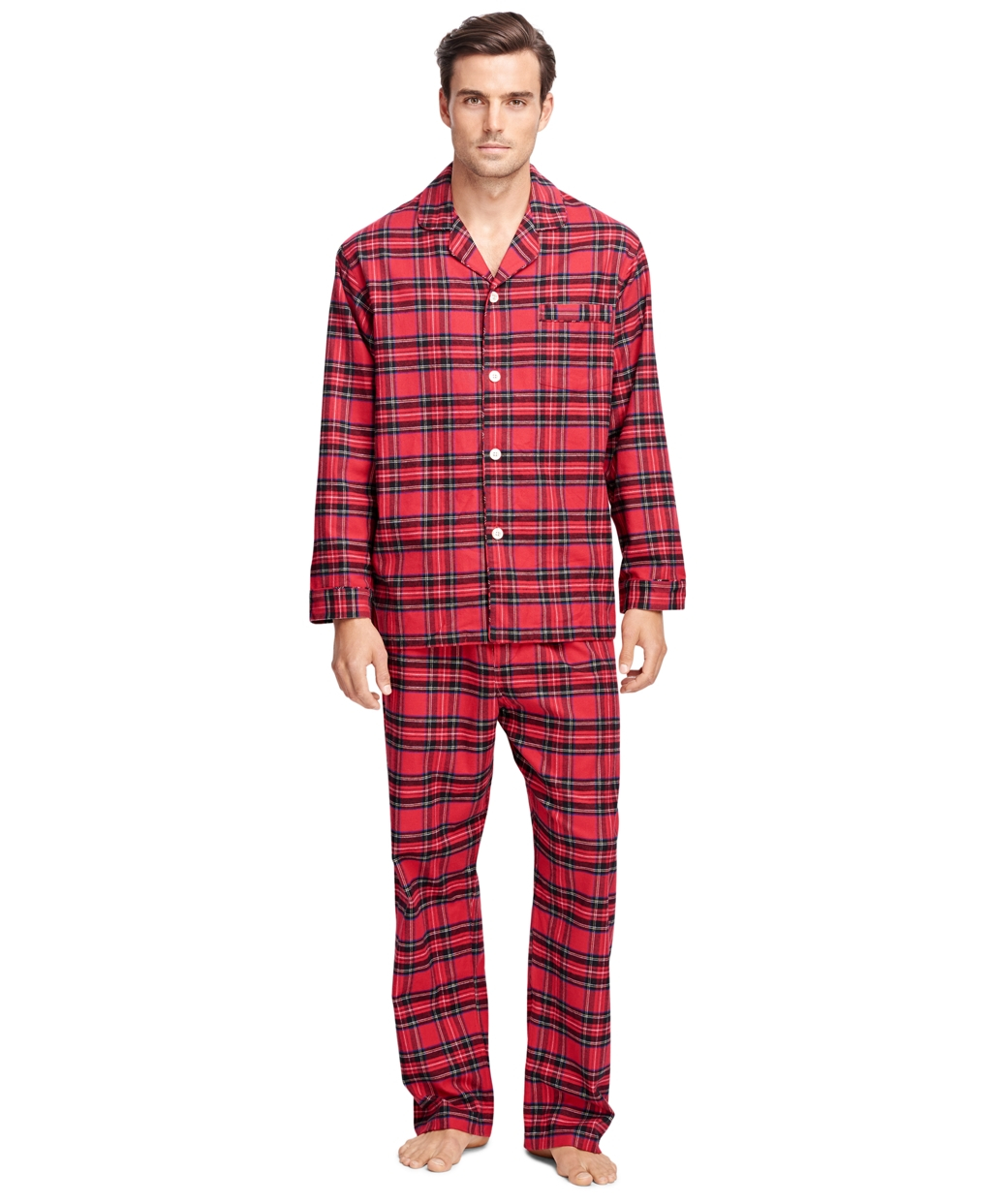 Brooks brothers Tartan Flannel Pajamas in Red for Men  bb3bf3971