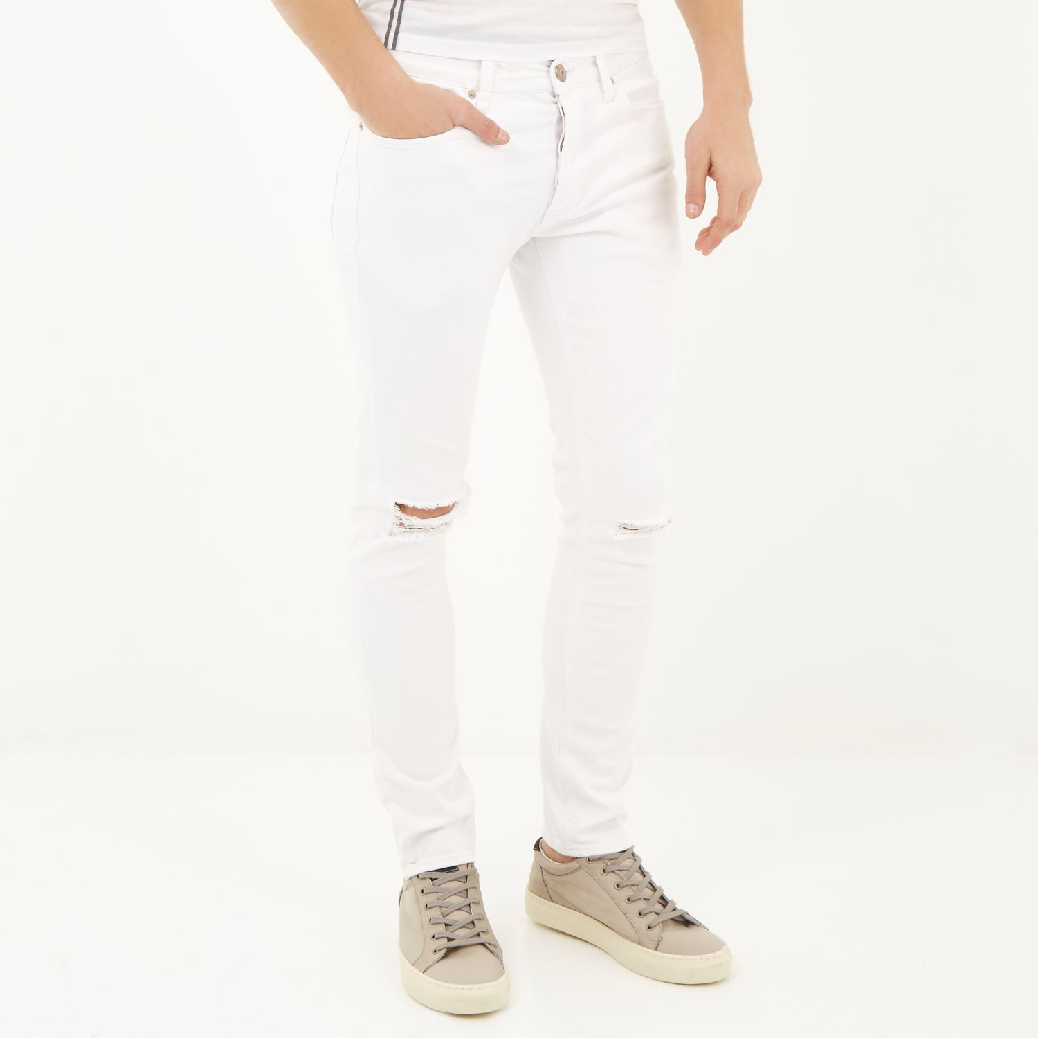 3d1bc5cb River Island White Ripped Eddy Skinny Stretch Jeans in White for Men ...