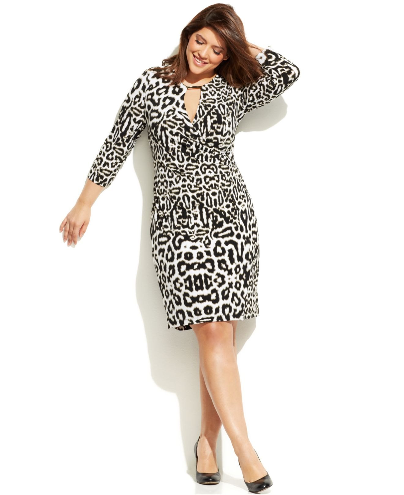 Calvin klein Plus Size Animal-Print Faux-Wrap Dress | Lyst