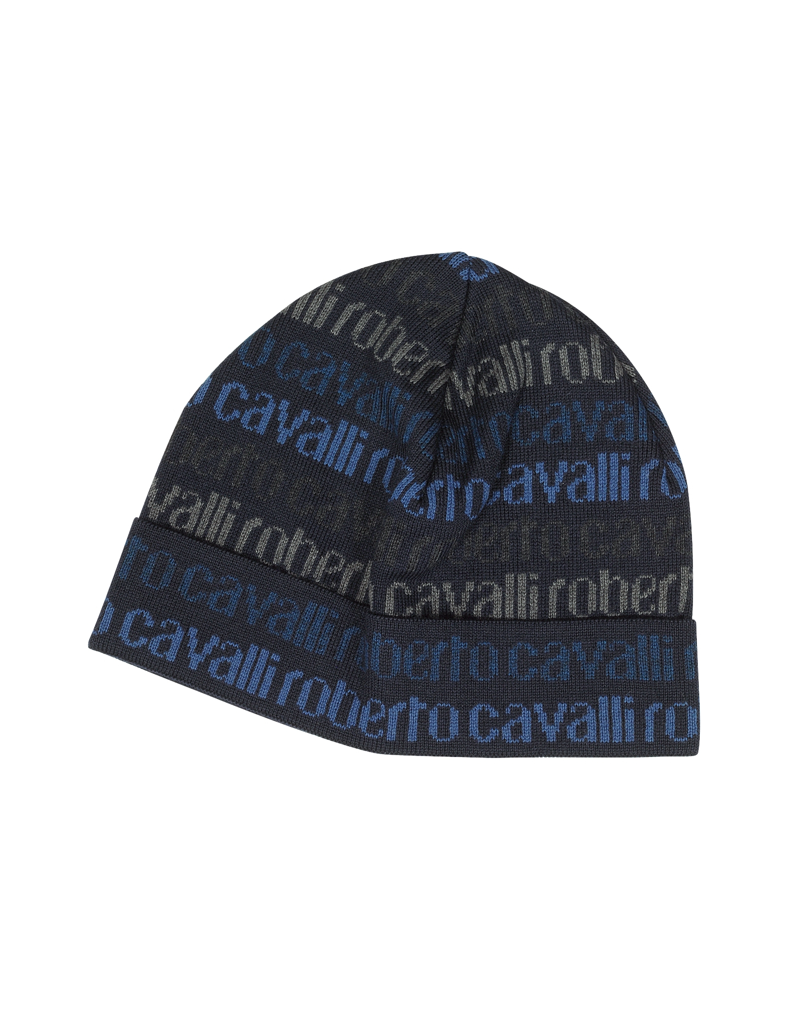 Roberto Cavalli Signature Woven Wool Blend Men s Hat in Blue for Men ... 2174798643a1