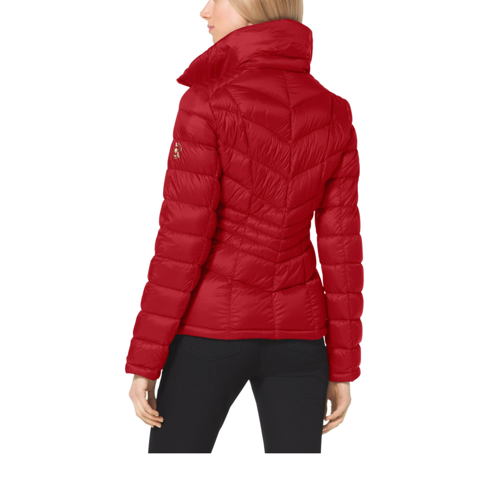 Michael Kors Quilted Nylon Jacket In Red Lyst