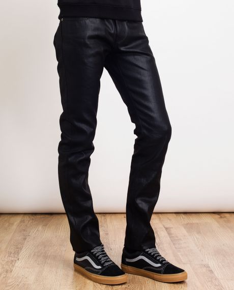 Mens Wax Coated Skinny Jeans