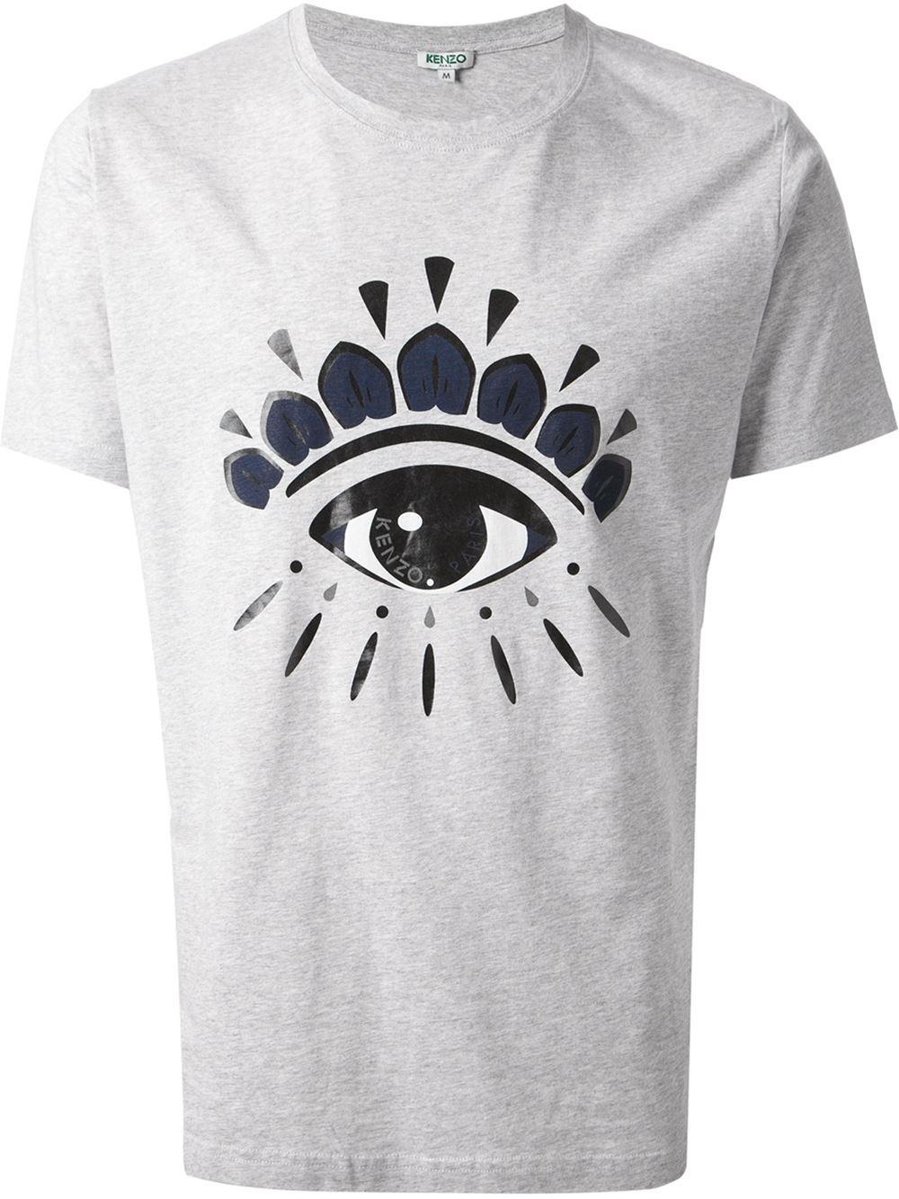 ada8631e KENZO Eye Print T-shirt in Gray for Men - Lyst