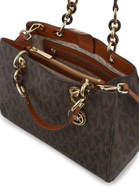 Usa Michael Kors Cynthia Totes - Bags Michael Kors Cynthia Brown Logo Print Coated Canvas Tote