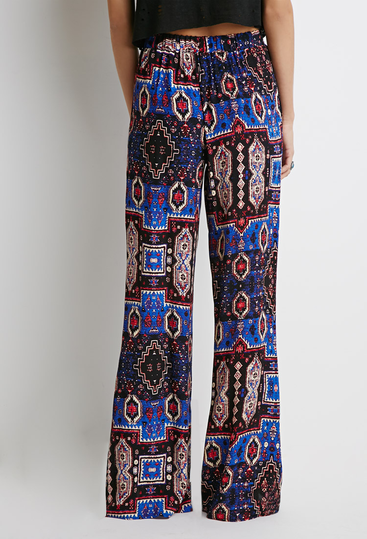Forever 21 Print Ankle Slit Pants In Blue Lyst