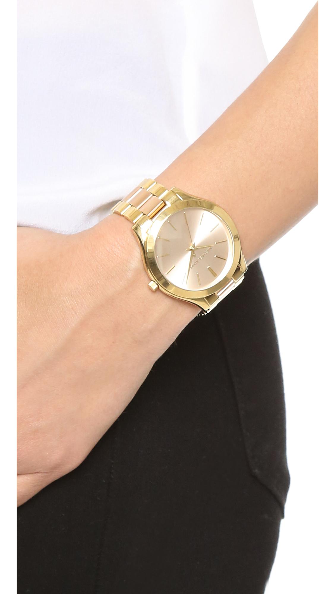 641e889793a4 Lyst - Michael Kors Slim Runway Watch in Metallic