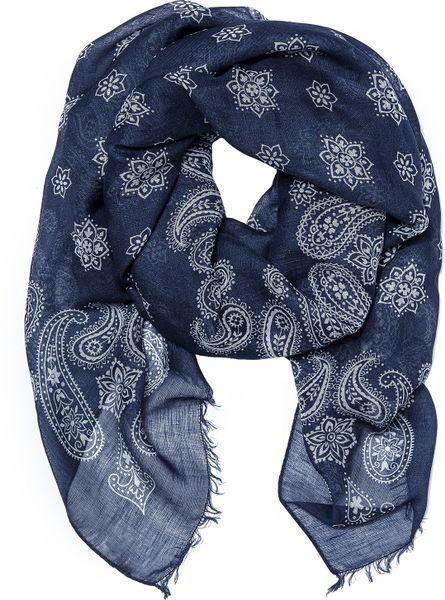 Drake S Bandana Print Scarf In Blue For Men Navy White