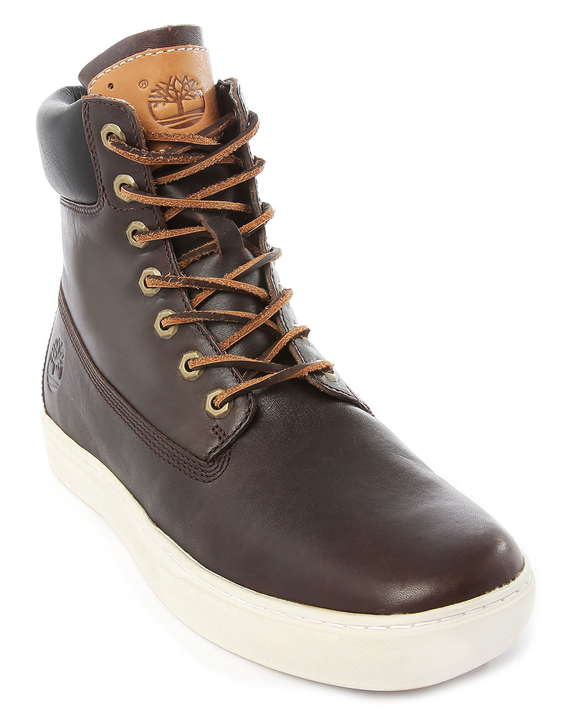 timberland chocolate leather cupsole 6 inch boots in brown