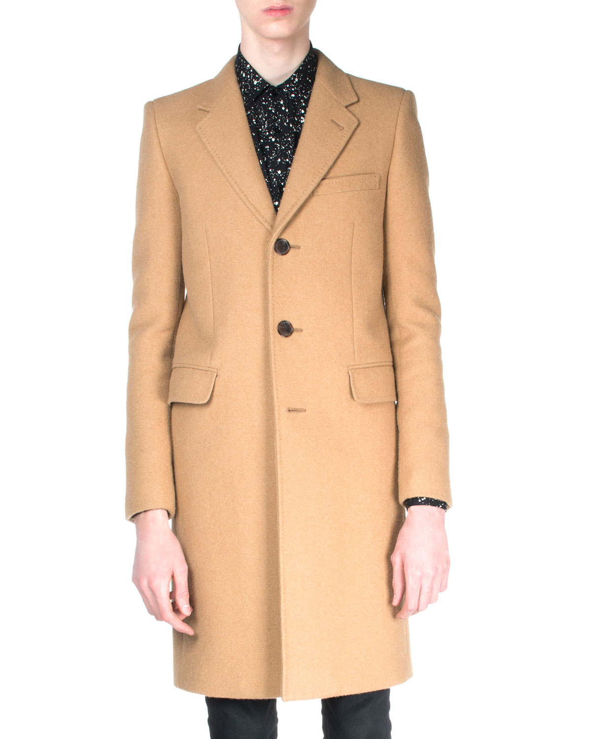 Saint Laurent Camelhair Single Breasted Coat In Brown For