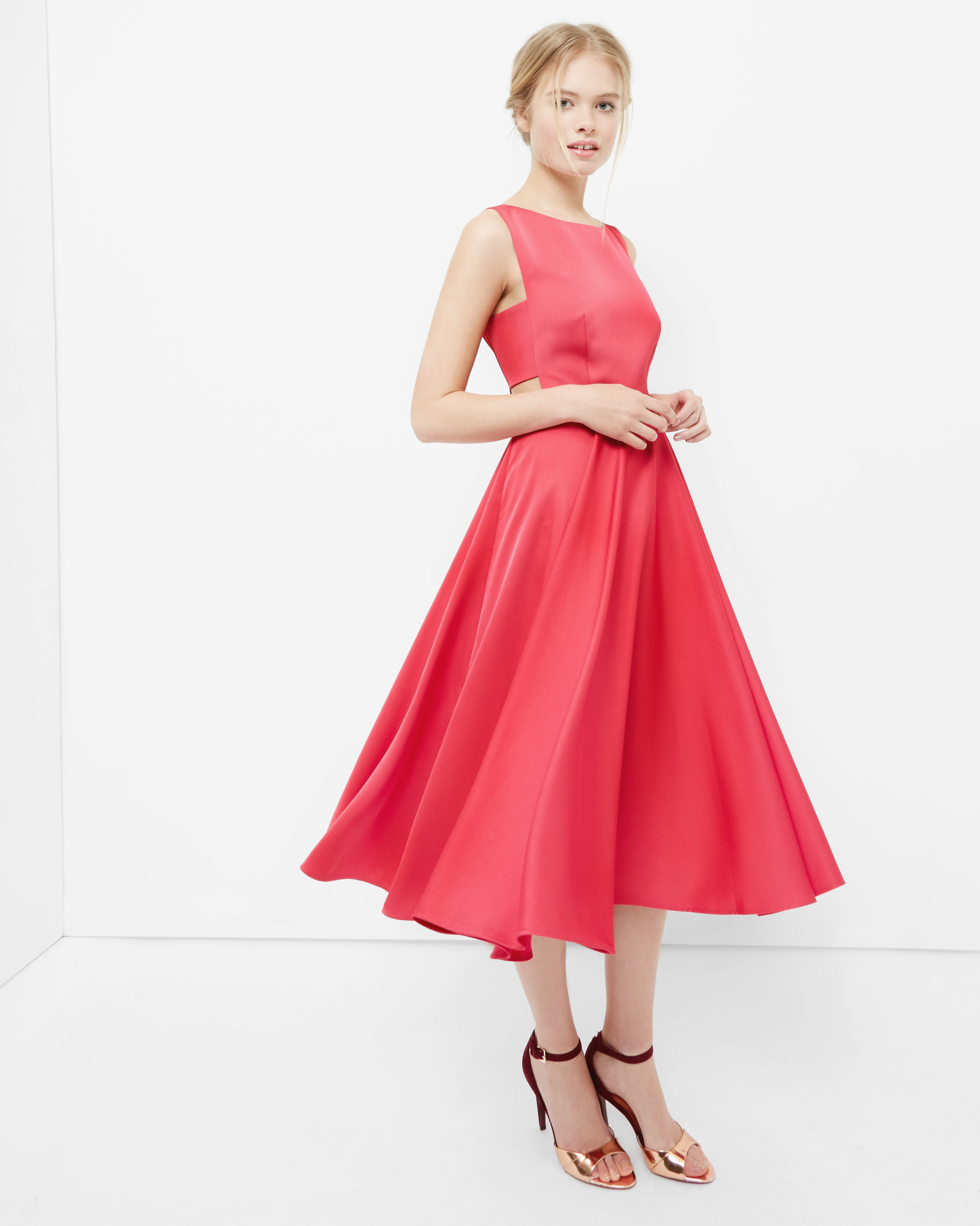 Lyst Ted Baker Cut Out Midi Dress In Pink