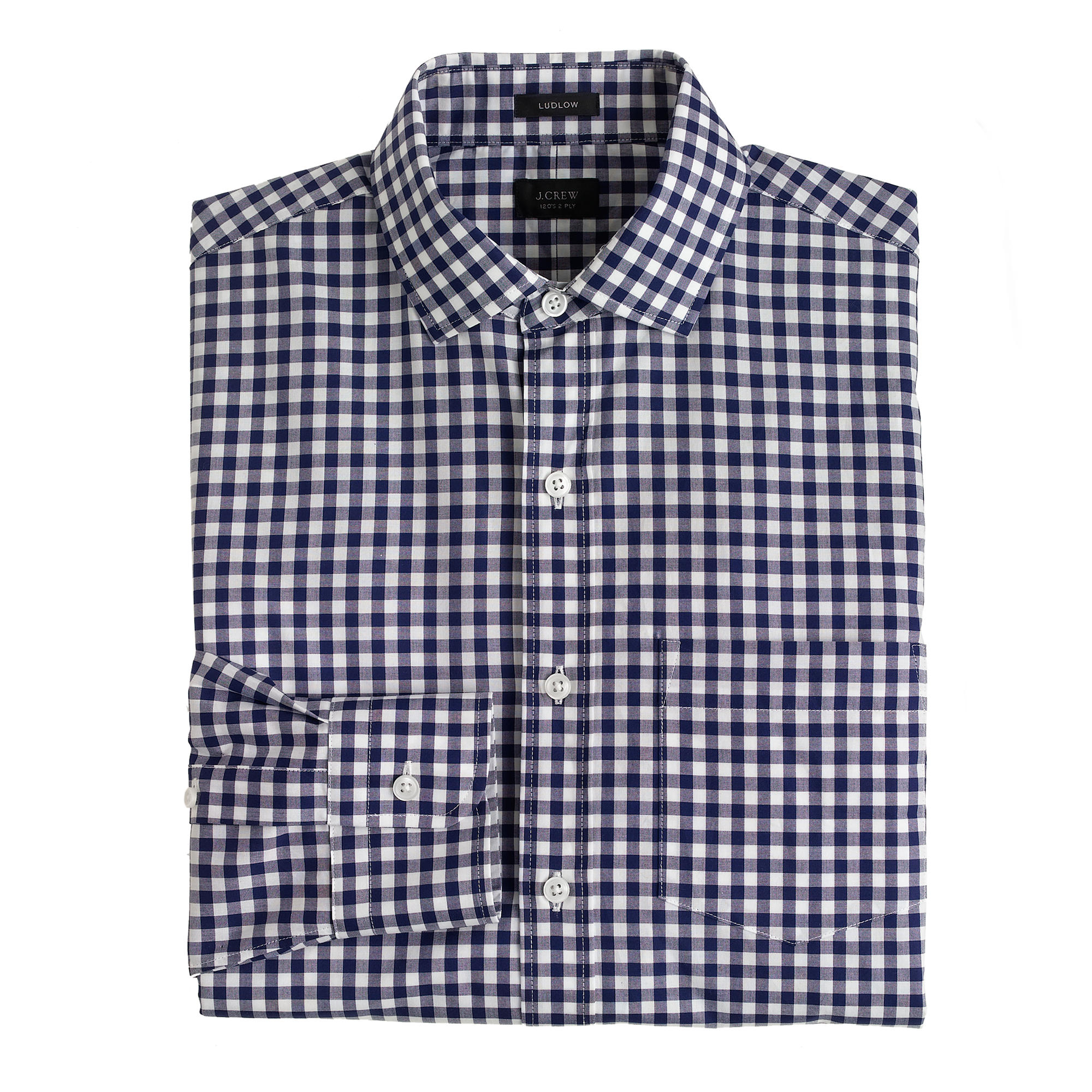 Ludlow Spread Collar Shirt In Navy Gingham In Blue
