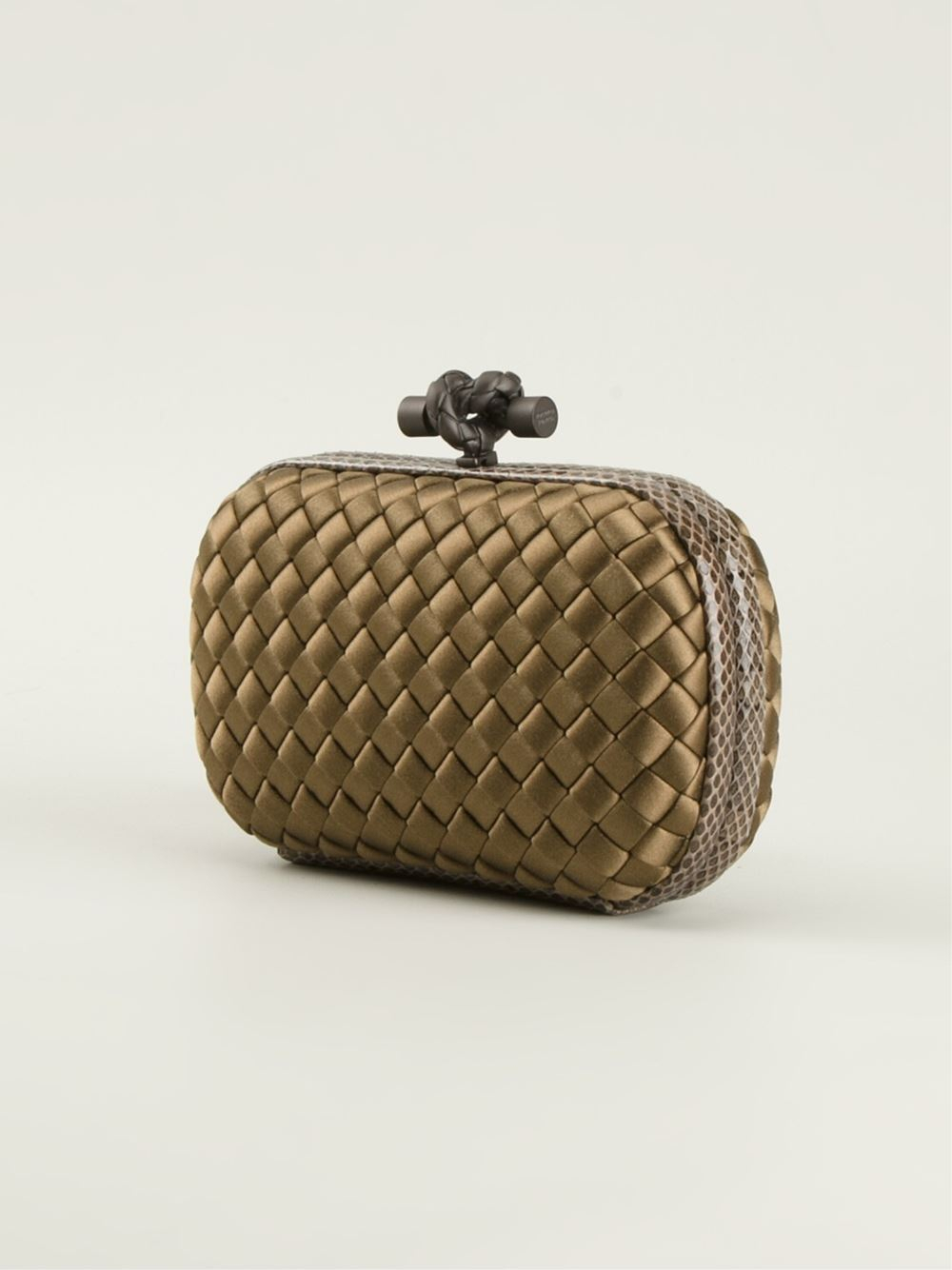 lyst bottega veneta 39 knot 39 box clutch in brown. Black Bedroom Furniture Sets. Home Design Ideas