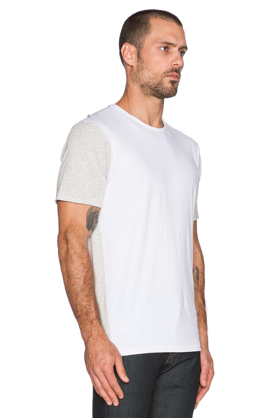 Lyst Rag Bone Color Blocked Jersey T Shirt In White