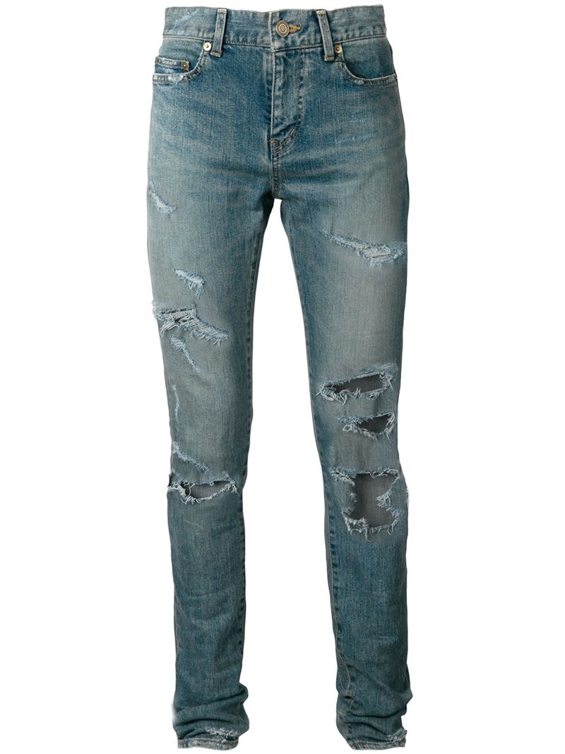 saint laurent distressed skinny jeans in blue for men lyst. Black Bedroom Furniture Sets. Home Design Ideas