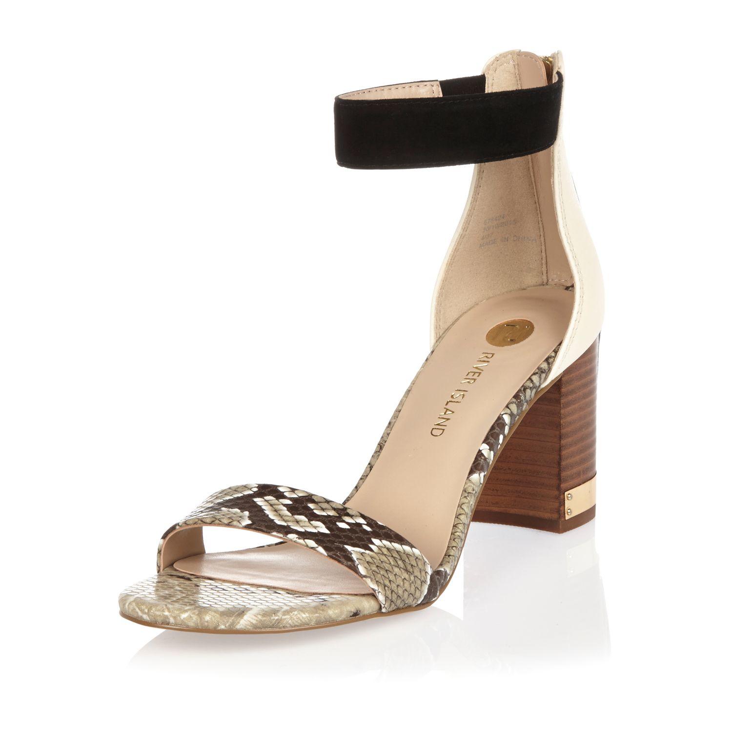 River Island Womens textile print block heel sandals