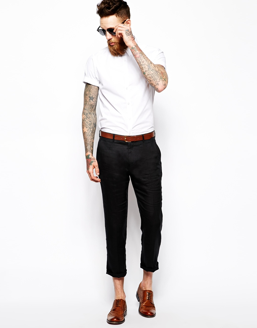 Lyst Asos Slim Fit Smart Cropped Trousers In Black 100 Linen In