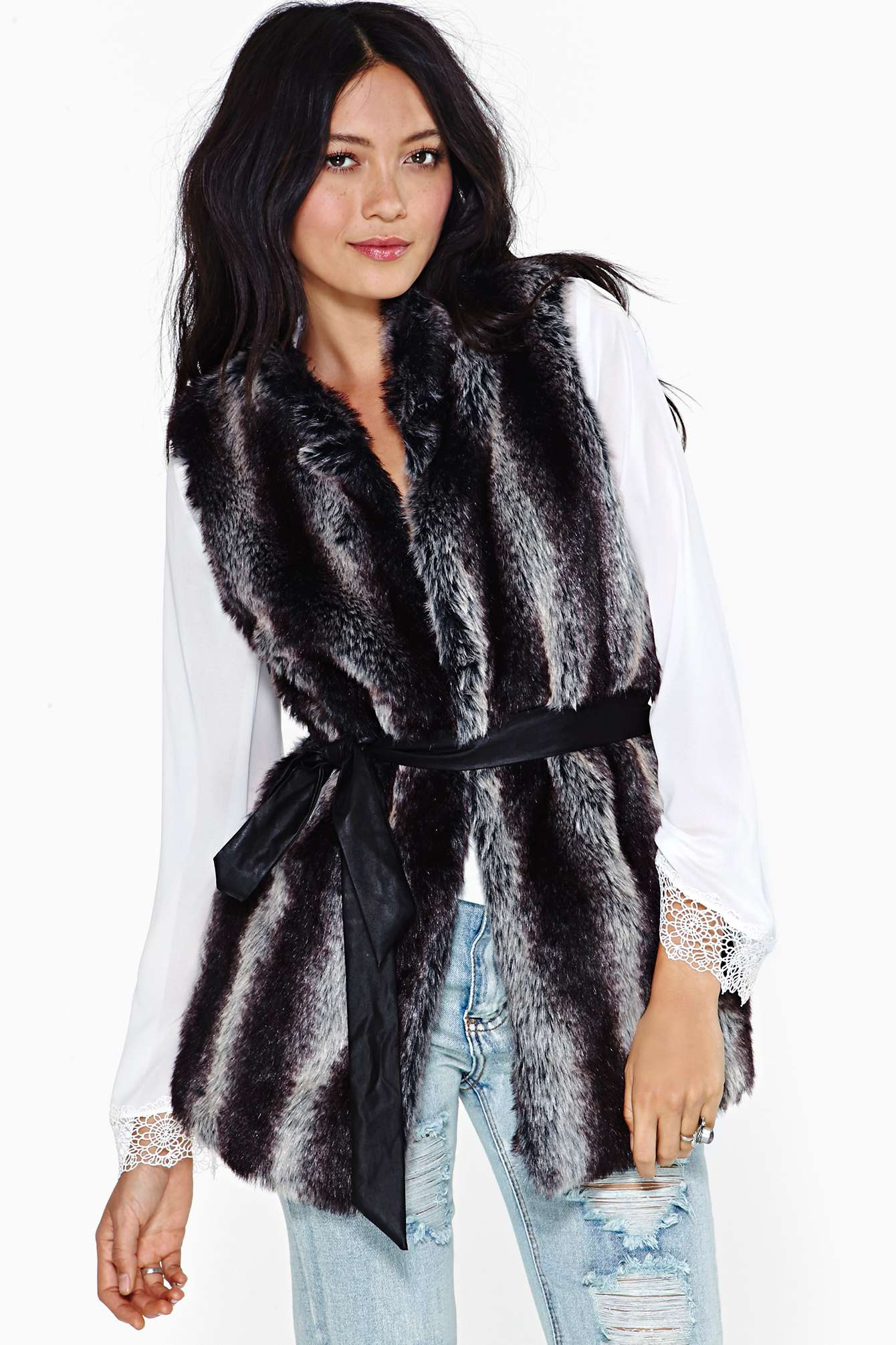 Lyst Nasty Gal Kiki Faux Fur Vest In Gray