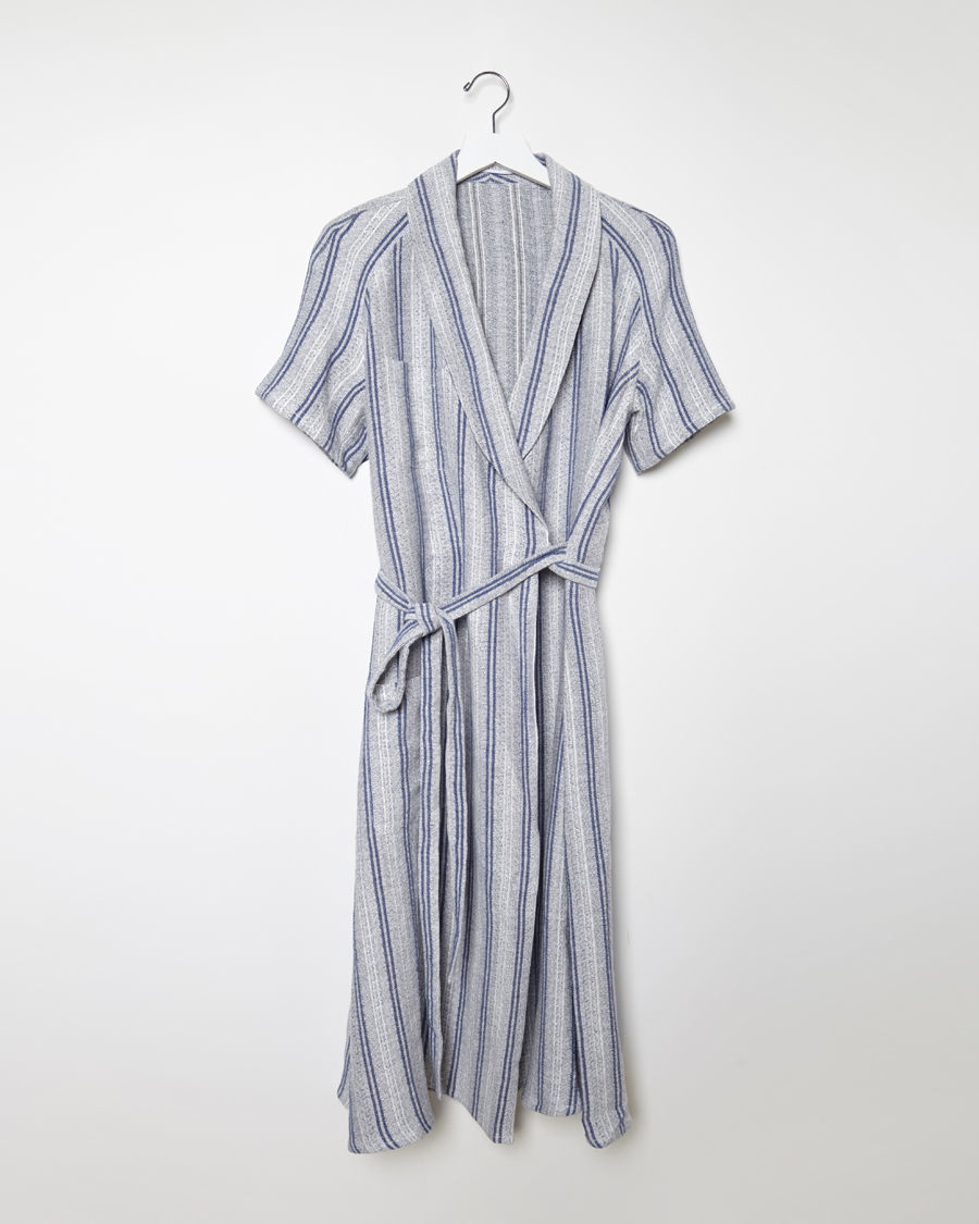 J.w.anderson Linen Wrap Dress in Blue | Lyst
