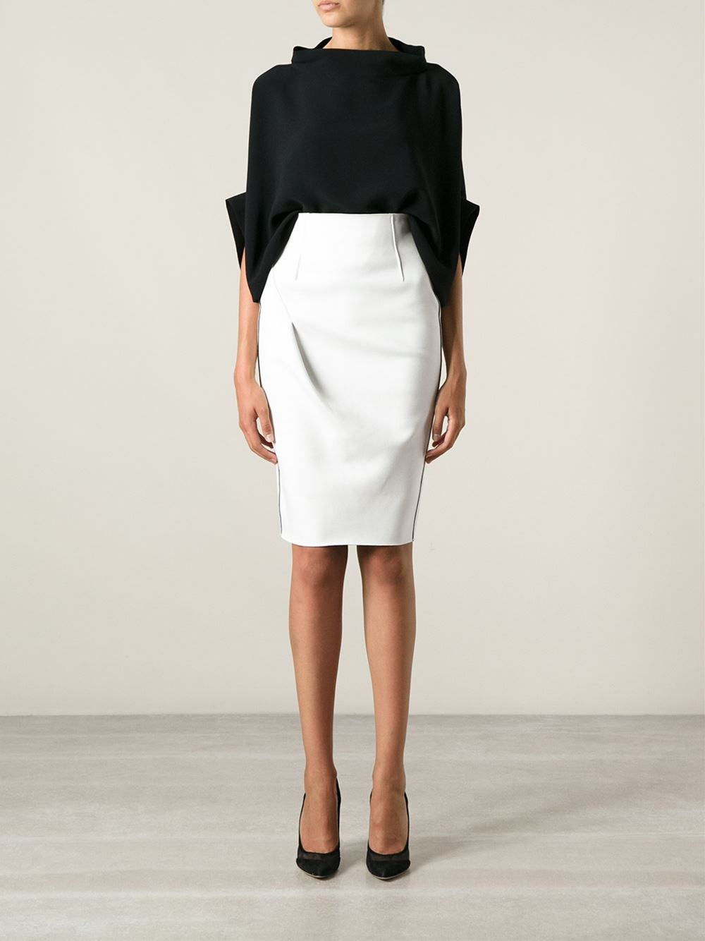 lyst emporio armani pencil skirt in white