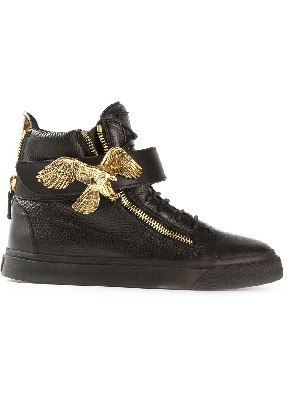 giuseppe zanotti eagle detail hi top sneaker in black lyst. Black Bedroom Furniture Sets. Home Design Ideas
