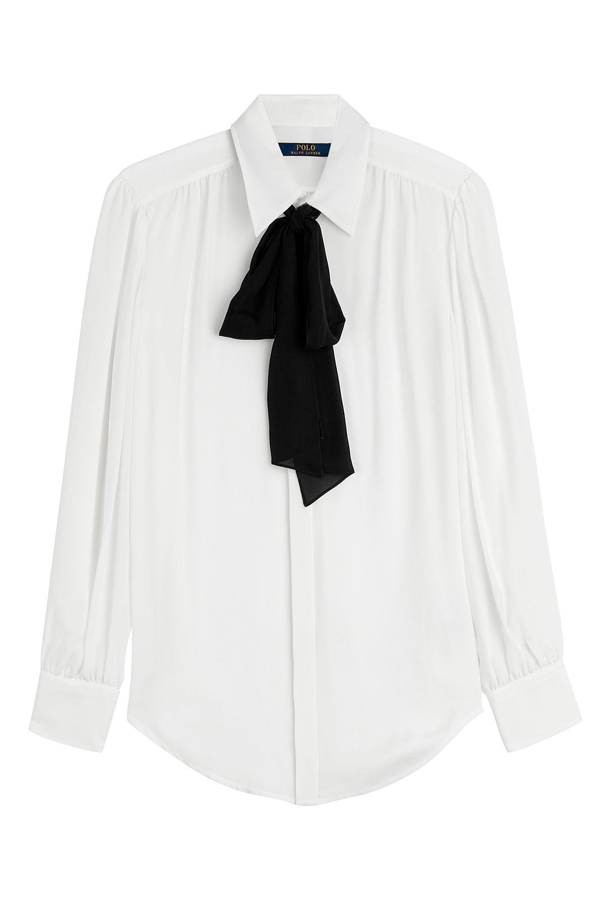 60b79983272b2e Polo Ralph Lauren Silk Blouse With Black Bow White In Lyst