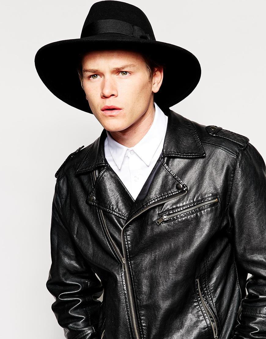 0971949fd3 ASOS Fedora Hat In Black Felt With Wide Brim in Black for Men - Lyst