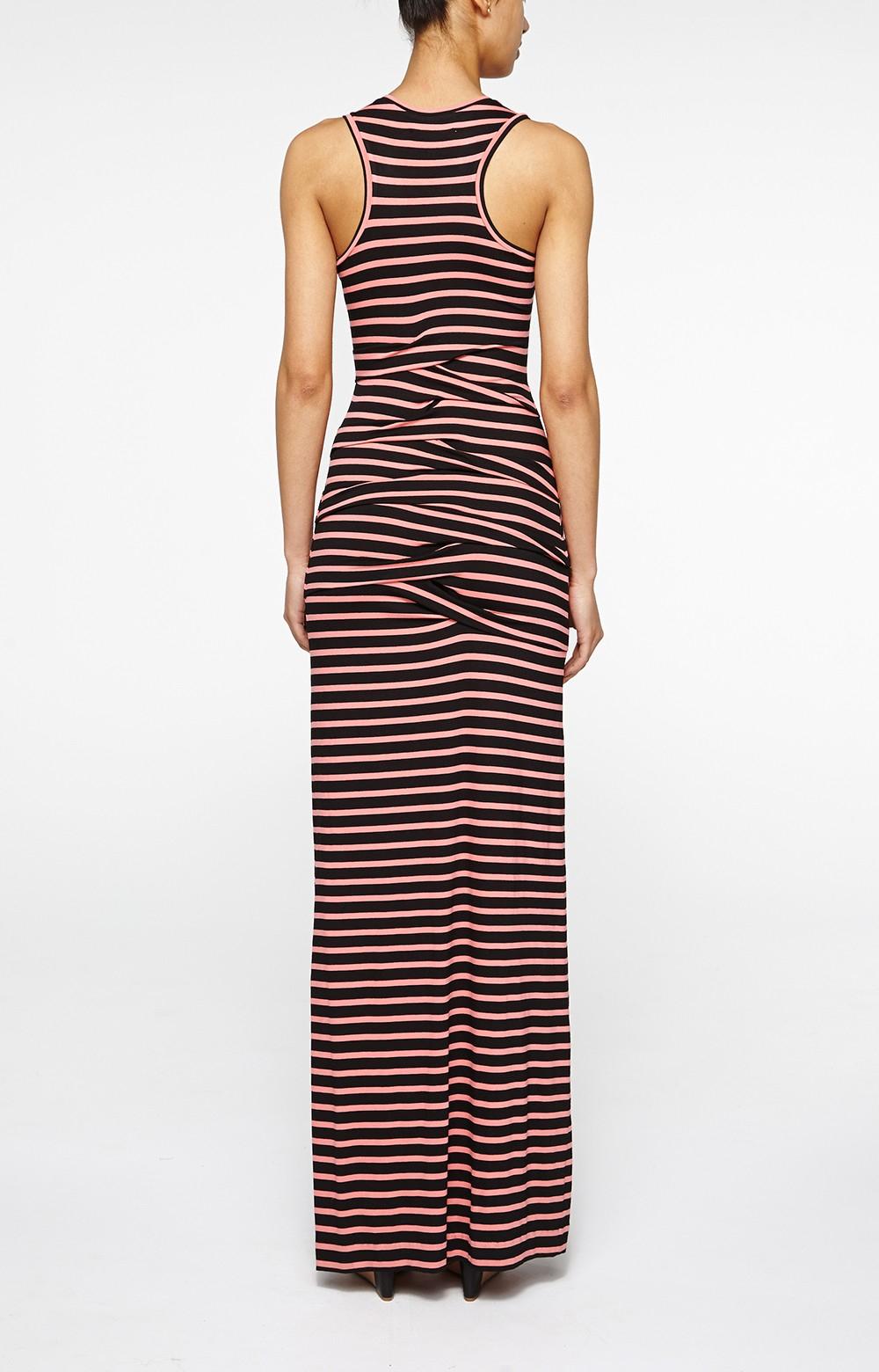 nicole miller vanessa striped maxi dress in black lyst