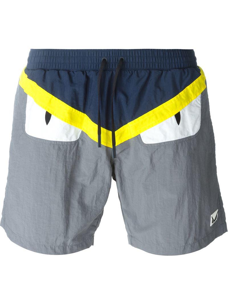 193b61ec45 Fendi Bag Bugs Swim Shorts in Blue for Men - Lyst