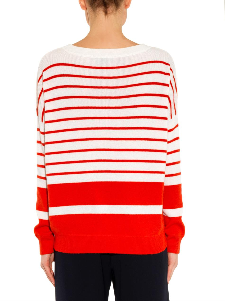 Vince Striped Cashmere Sweater in Red | Lyst