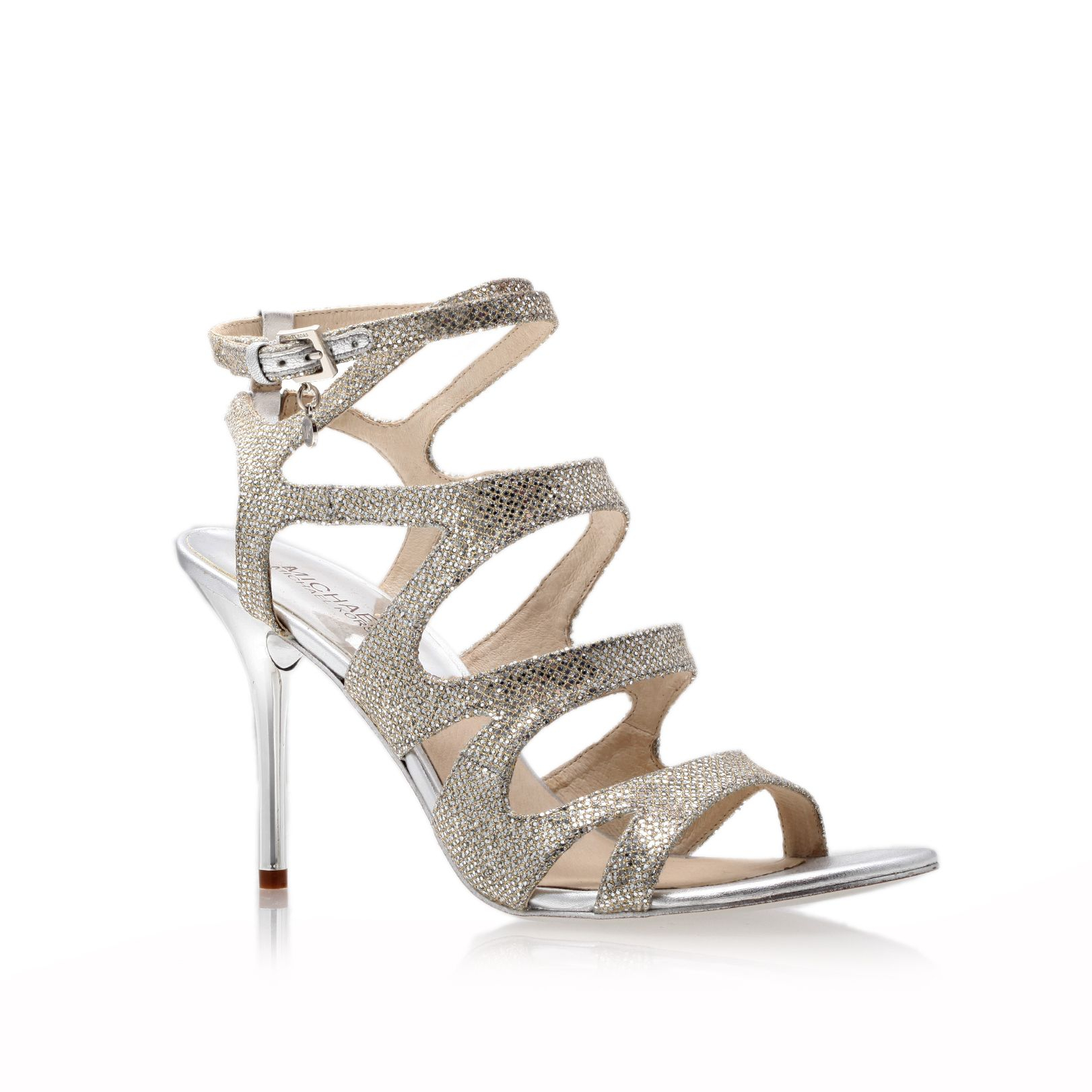 michael kors yvonne high heeled sandals in silver lyst. Black Bedroom Furniture Sets. Home Design Ideas