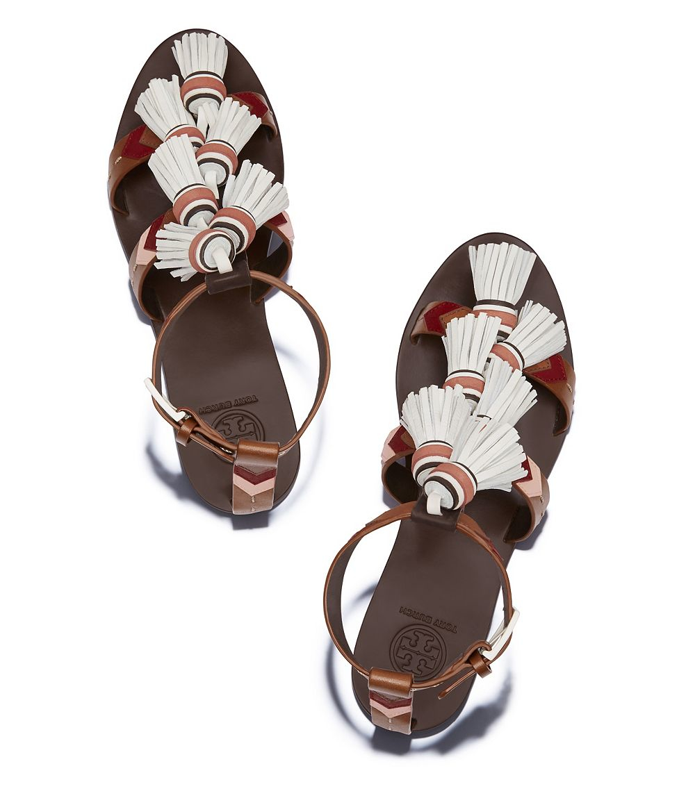 e4d5f582e03385 Lyst - Tory Burch Weaver Tassel Flat Sandal in Brown