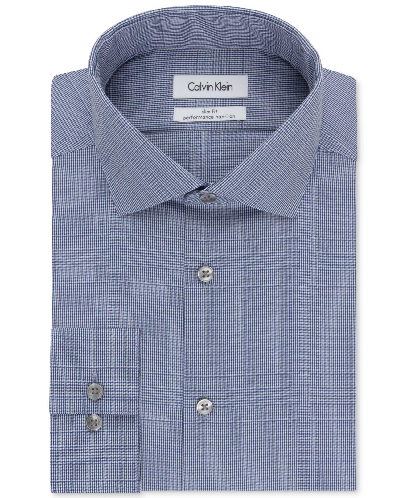 Calvin klein steel slim fit non iron performance english for No iron slim fit dress shirts